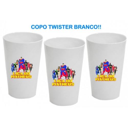 01 UNID. COPOS PLASTICOS TWISTER / COR BRANCA / TAM. 480ml